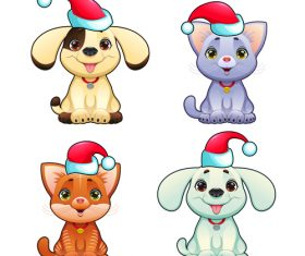 Animal with christmas hat pattern background vector 04