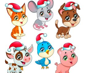 Animal with christmas hat pattern background vector 05