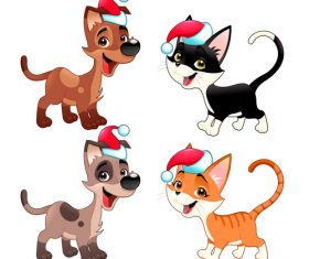 Animal with christmas hat pattern background vector 06