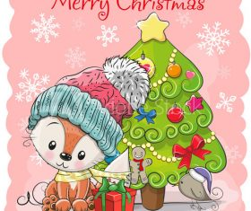 Animals under christmas tree vector