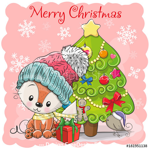 Animals under christmas tree vector