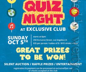 Annual quiz night flyer psd template