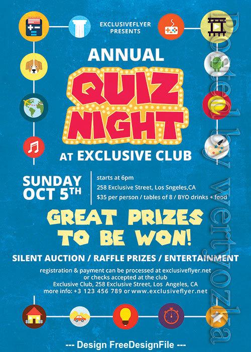 Annual quiz night flyer psd template
