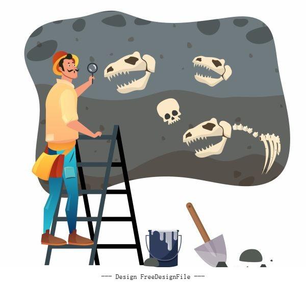 Archaeologist work painting explorer dinosaur fossil sketch vectors material