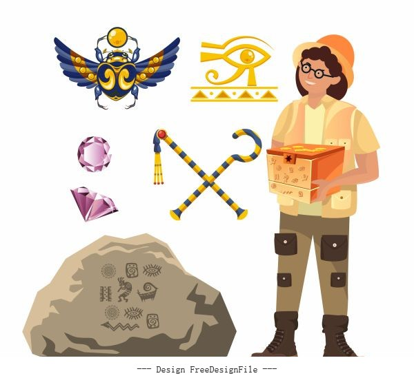 Archaeology work elements explorer ancient symbols vector