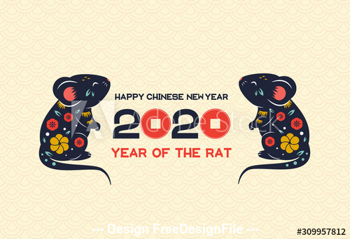 Art illustration 2020 year of rat vector