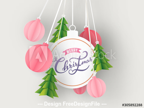 Art origami christmas background card vector