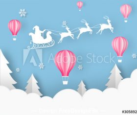 Art origami christmas greeting card vector
