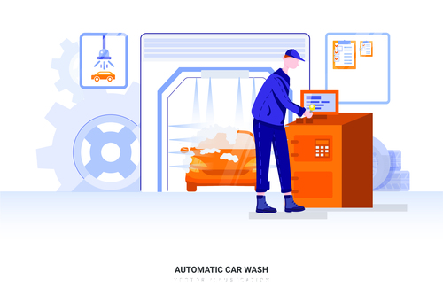 Automatic car wash illustration vector