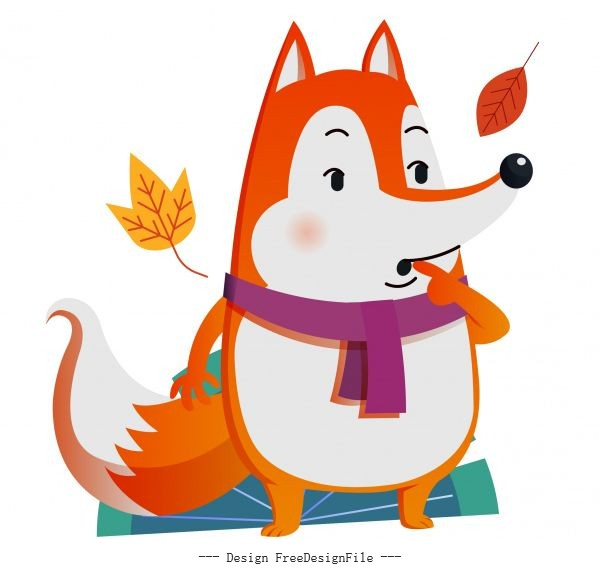 Autumn animal cute fox falling leaves vector material