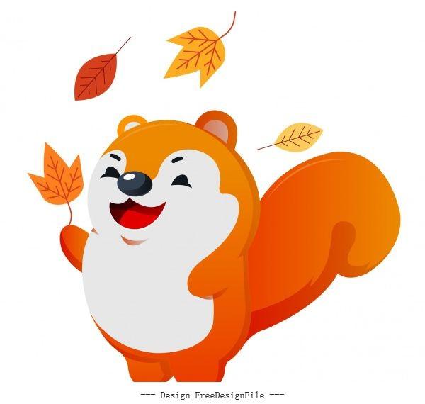 Autumn animal icon joyful squirrel leaves sketch vector