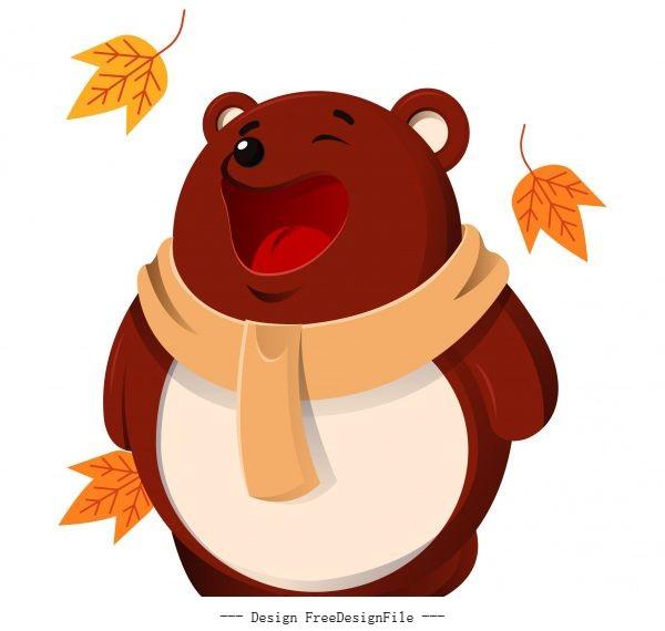 Autumn animal icon stylized funny bear sketch set vector
