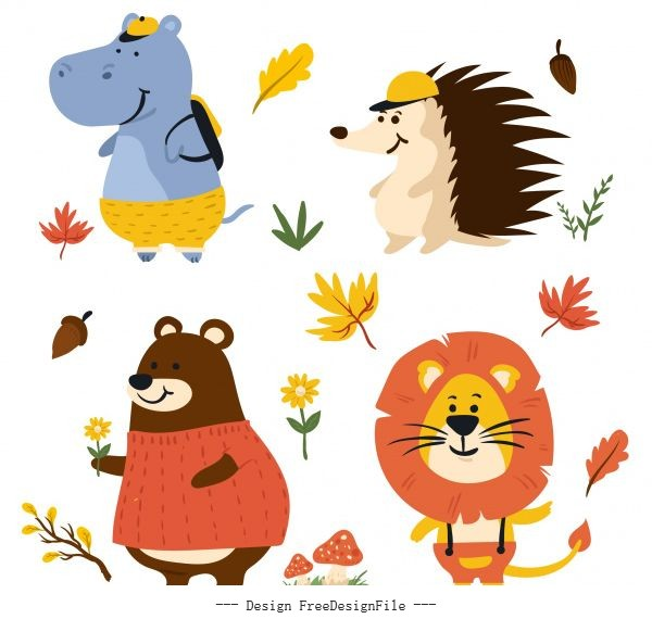 Autumn elements animals sketch cute stylized vector material