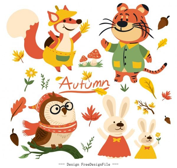 Autumn elements cute stylized animals plants vector