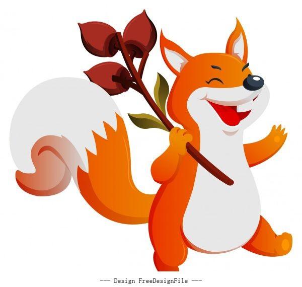 Autumn fox cute cartoon character shiny vector