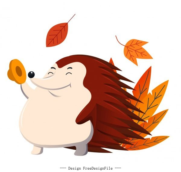 Autumn icon porcupine leaves sketch cartoon character vector design