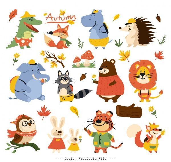 Autumn icons stylized animals leaf cartoon vector