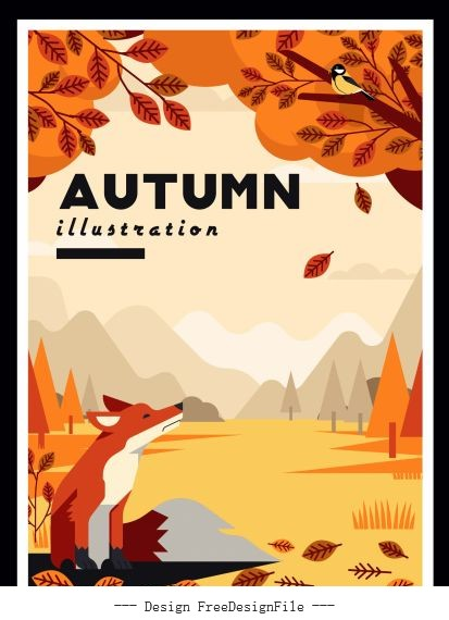 Autumn painting wild scenery fox vector cover