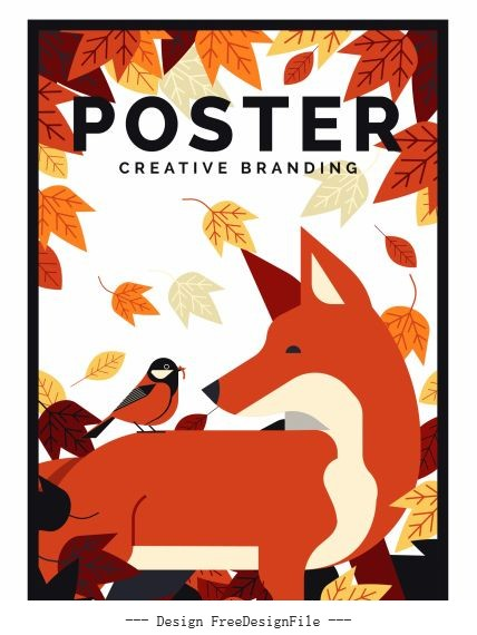 Autumn poster classical colored leaves fox bird decor vector material
