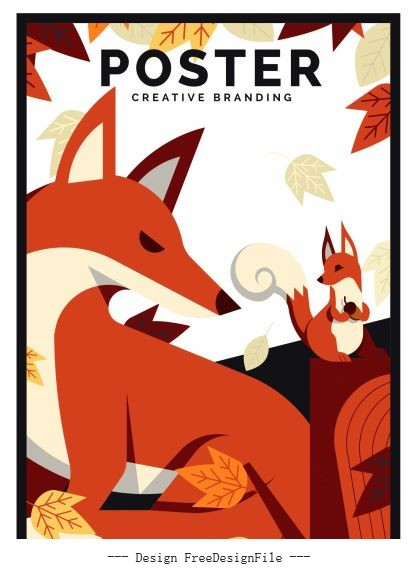 Autumn poster foxes leaves vectors material