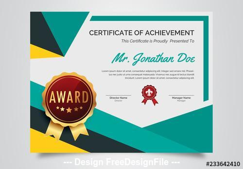 Award certificate layout with geometric designs vector
