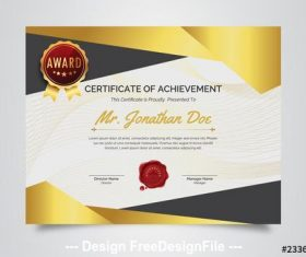 Award certificate with geometric designs vector