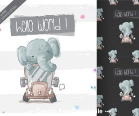 Baby elephant pattern background vector