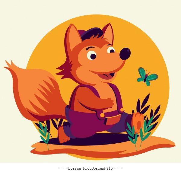 Baby fox cute stylized cartoon character vector