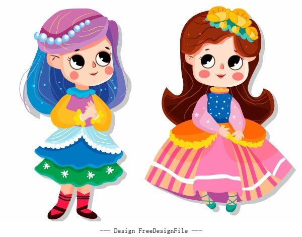 Baby girl icons cute cartoon characters vector