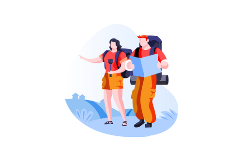 Backpacker traveller vector