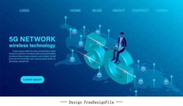 Banner 5g network wireless technology vector