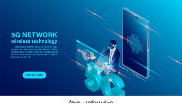 Banner 5g network wireless technology concept mobile phone with vectors
