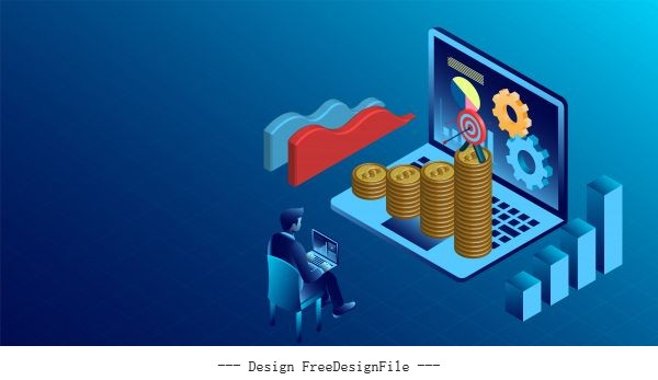 Banner with business finance success concept digital marketing isometric illustration cartoon vector