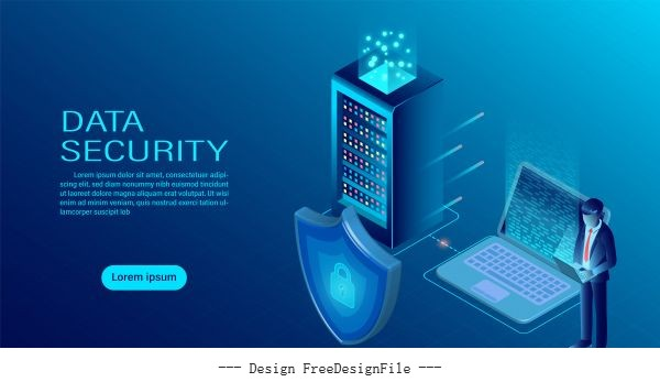 Banner with businessman protect data vector material