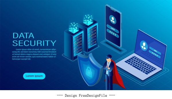 security are confidential flat isometric illustration vector