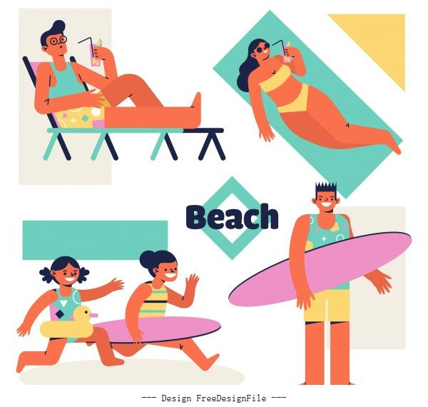 Beach activities icons colored cartoon characters vector