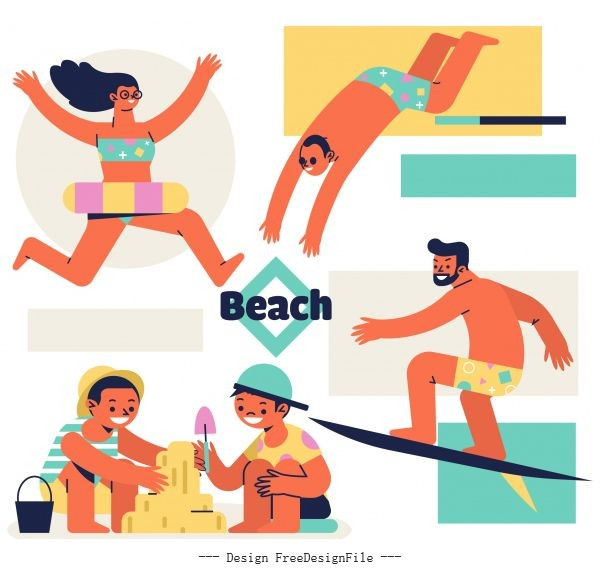 Beach activities icons joyful people cartoon characters vector