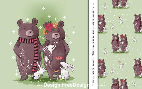 Bear companion decorative poster design vector