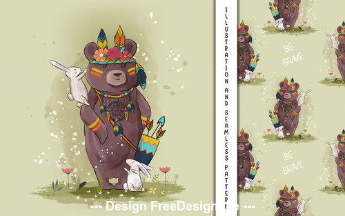 Bear hunter decorative poster design vector