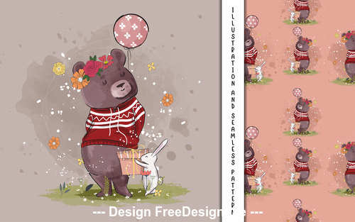 Bear with bunny decorative poster design vector