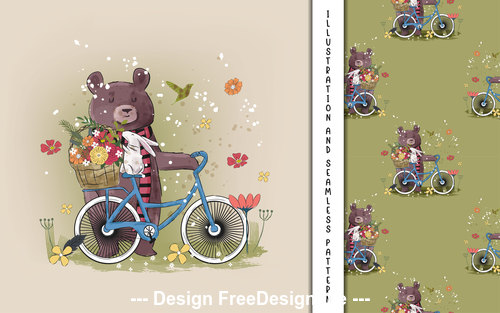 Bear with rabbits and flowers decorative poster design vector