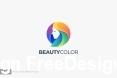 Beauty girl head colorful color logo template vector