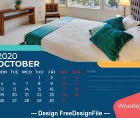 Bedroom furniture background calendar 2020 vector
