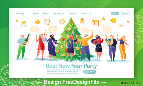 Best New Year party flat character website layout vector