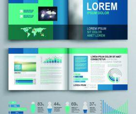 Bi-fold color brochure flyer template information vector