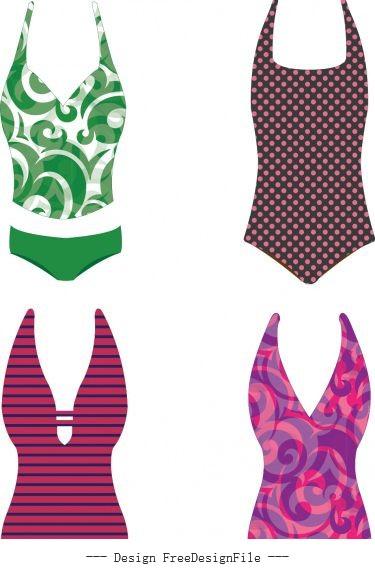 Bikini swimsuits swimwear beachwear collection free shiny vector