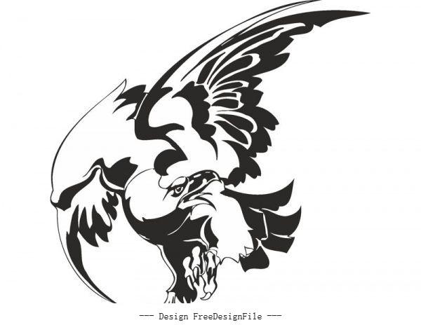 Bird hawk vulture wall sticker free cdrs art vector
