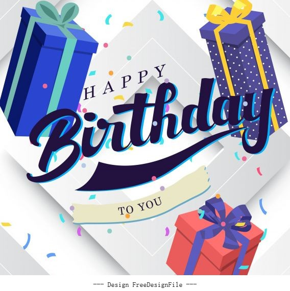 Birthday template floating gifts decor vector