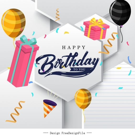 Birthday banner template modern bright 3d decor vector