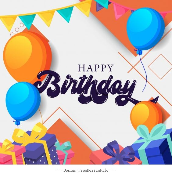 Birthday poster template colorful balloon ribbon decor illustration vector
